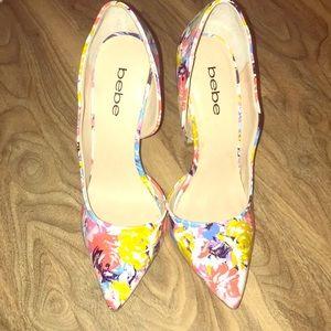 Bebe floral point heels pumps pointed